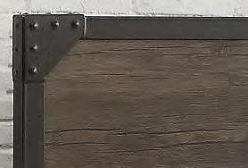Image of Wood Panel Bed with Steel Frame and Rivets