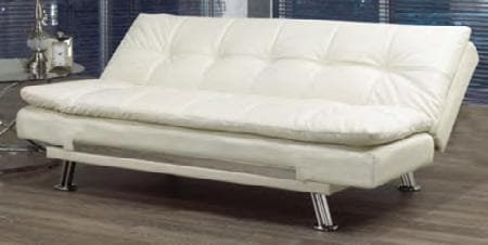 Ivory White Sofa Bed With a Chrome Legs