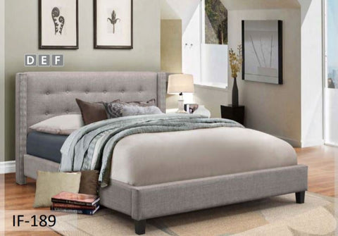 Image of Light Grey Fabric Bed with Nailhead