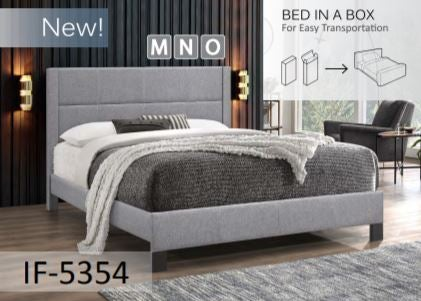 Image of Light Grey Fabric Bed with Contrast