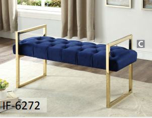 Image of Navy Blue Velvet Fabric Bench with Gold Legs
