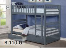 Image of New Grey Wooden Bunk Bed