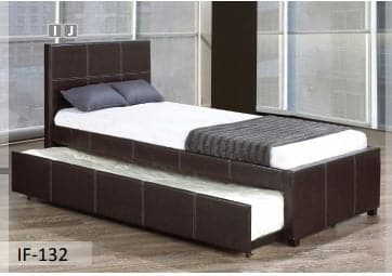 Pull-Out Trundle Black PU Bed