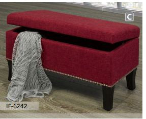Image of Red Fabric Storage Bench With Nail Heads
