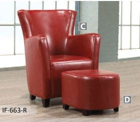 Image of Red PU Chair & Ottoman