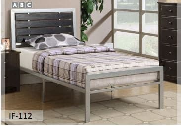Silver Metal Frame Bed
