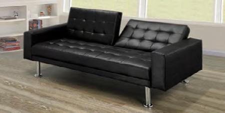 Upholstered Black Sofa Bed With Chrome Legs