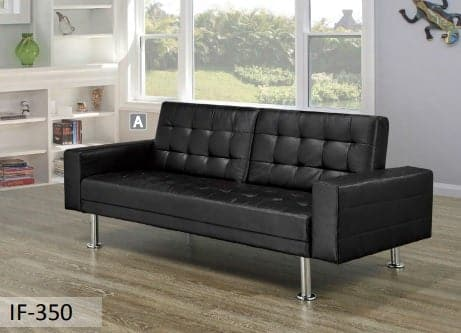 Image of Upholstered Black Sofa Bed With Chrome Legs