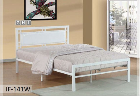 Image of White Metal Bed With A Padded Headboard