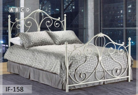 Image of White Metal Bed With HB & FB