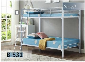 Image of White Metal Twin Bunk Bed