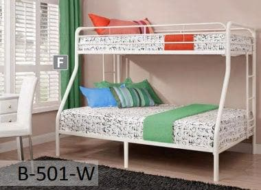 White Metal Twin Full Bunk Bed