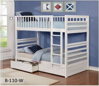 Image of White Wooden Durable Bunk Bed