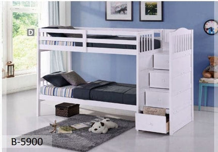 White New Wooden Twin Bunk Bed