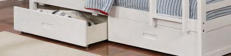 White Wooden Drawers Bunk Bed