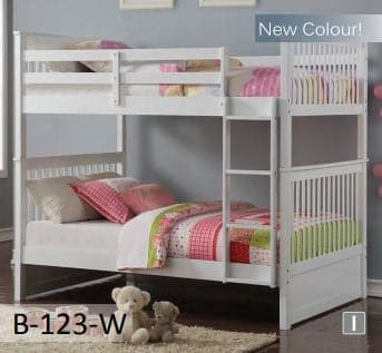 Image of White Wooden Drawers Bunk Bed