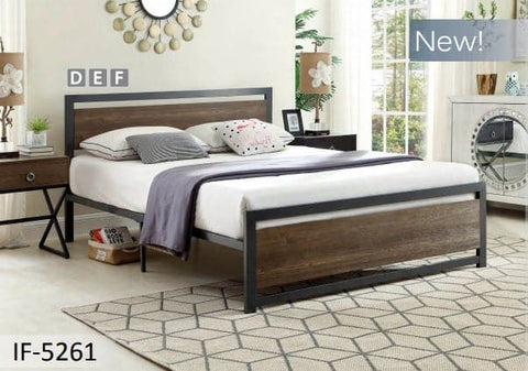 Image of Wood Panel Bed With a Grey Steel Frame Headboard
