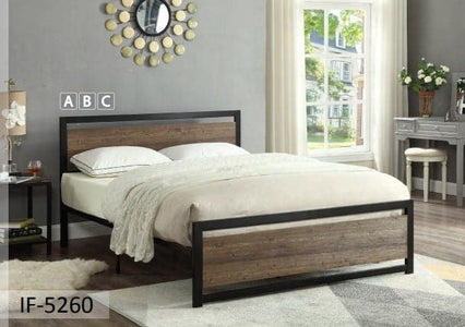 Wood Panel Bed with a Black Steel Frame
