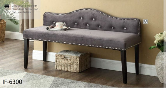 Grey Velvet Bench with Rhinestone Crystals