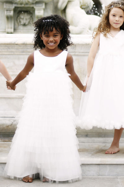 Empire bodice  flower girl dress with tired net skirt  (FG1060)
