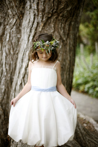 Flower girl Bubble dress with tulle embellishment at the bodice and contrast sash accent with bow detail. (FG2870)