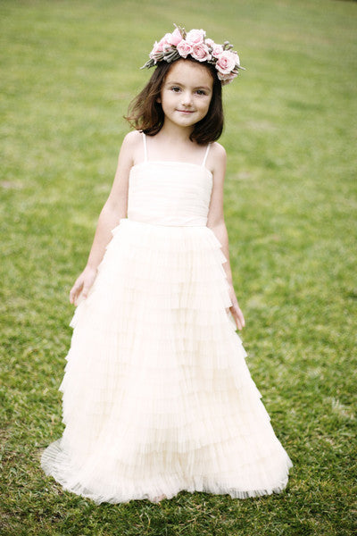 Flower girl dress with rouched bodice and tired tulle net skirt (FG2942)