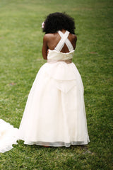 Flower girl dress with Organza twirl skirt and criss cross bodice with a satin contrast ribbon sash. (FG2874)