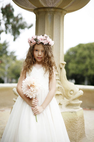 Flower girl dress with rouched v neck bodice and twirling skirt. (FG2948)