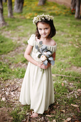 Knee length flower girl  chiffon bubble dress with square neckline and empire waist (FG1059)