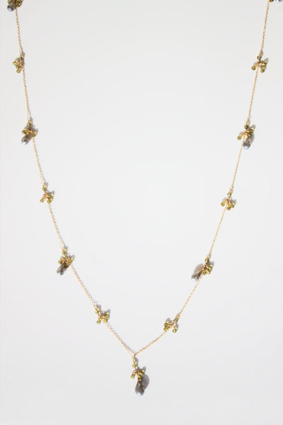 14K Gold fill necklace with delicate labradorite and khaki crystals pendant. (AC7910-GF)