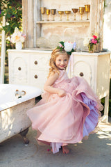 Flower girl dress with Satin faille tank bodice with an Organza twirl/ circle skirt and sash with bow at waist (FG2865)