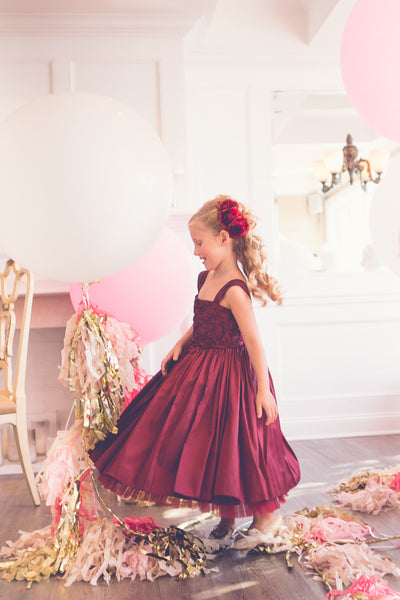 Taffeta smocked top with pleated skirt and tulle edge flower girl dress (FG2867)