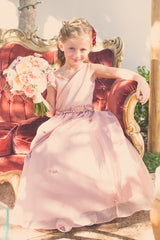 Satin bodice with Organza twirl skirt and delicate flower detail at waist (FG2862)