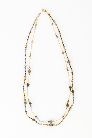14k gold fill with bronze mix layered  necklace (AB8083-GF)