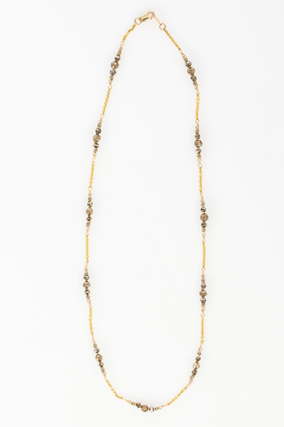Delicate 14K gold fill chain embelished with brown quartz and pyrite beads (AC7882-GF)
