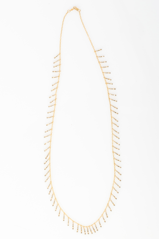 14k gold fill necklace with Metalic mix fringe beading. (AC8044-GF)