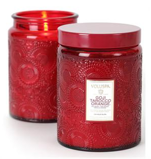 VOLUSPA CANDLES, GOJI TAROCCO ORANGE LARGE GLASS JAR CANDLE
