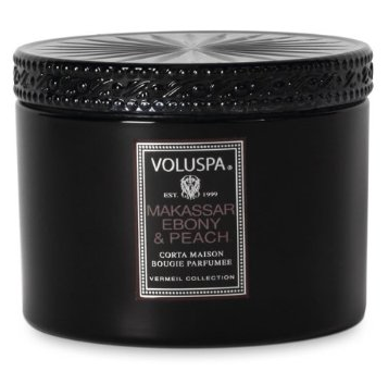 VOLUSPA CANDLES, MAKASSAR EBONY & PEACH - 11 OZ CORTA MAISON GLASS CANDLE WITH LID