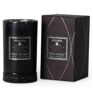 VOLUSPA CANDLES, MAKASSAR EBONY & PEACH - 5.25 OZ SLENDER PETITE VASO CANDLE