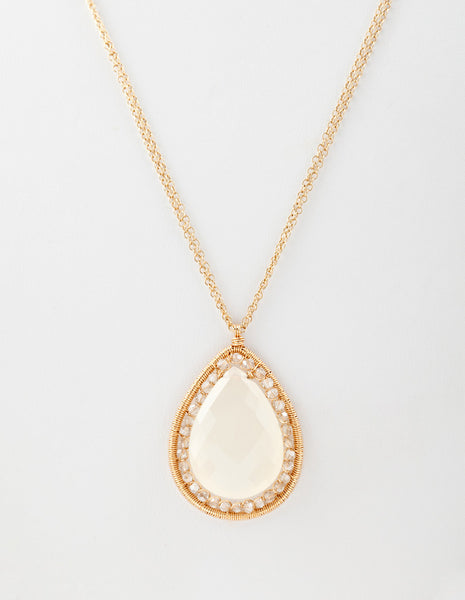 14k gold fill necklace with milky quartz pendant. ( AC7536)