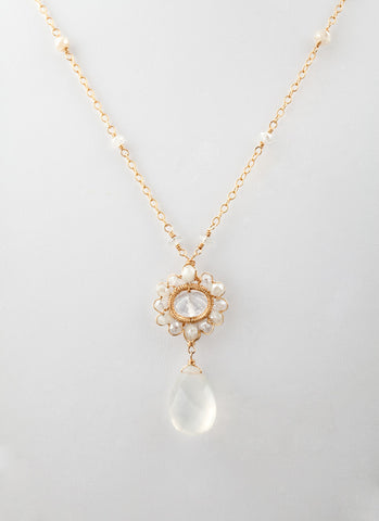 14K gold fill pendant with diamond quartz, milky quartz and ice quartz. (AC7541)