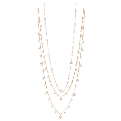 14k gold fill layered necklace with pearl and quartz. (AC7594)