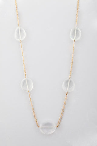 14k gold fill necklace with milky quartz. (AC7614)