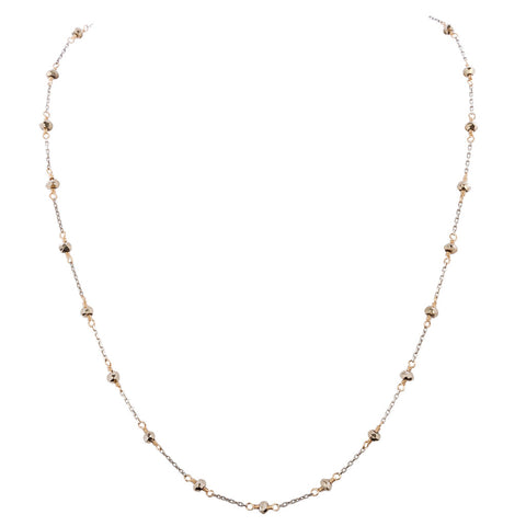 Light silver necklace finished with intricate gold fill and silver pyrite beads. (AC7713)