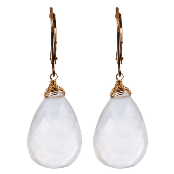 Delicate 14k gold fill drop earring finished with milky quartz. (AE5252)