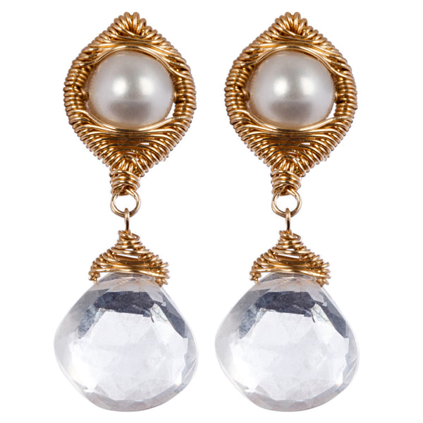 14k gold fill wrapped drop earrings with Pearl and milky quartz. (AE5258)