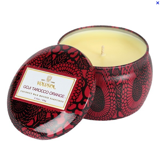 VOLUSPA CANDLES, GOJI TAROCCO ORANGE MINI TIN
