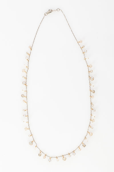 Delicate 14K gold fill chain embellished with a mix of metal beads pearl and glass drop. (AC8092-GF)