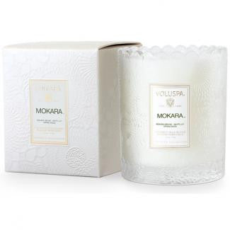 VOLUSPA CANDLE, MOKARA SCALLOPED GLASS