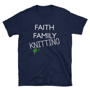 Faith, Family Knitting - Short-Sleeve Unisex T-Shirt